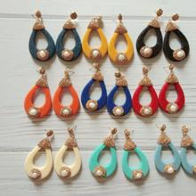 Wholesale Candy Color Leather Dangel Drop Earrings with Nature Pearl Luxury Statement for Women Gold Rhinestone Jewelry