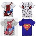 Nuevo 2017 boy camiseta de algodón de manga corta t-shirt de impresión de los niños Del Hombre Araña de dibujos animados gris niños niño niño de ropa