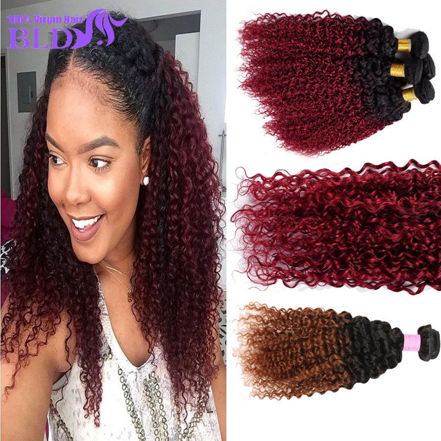 3 Bundles Malaysian Afro Curl Weave Ombre 2 Tone 1B Brown