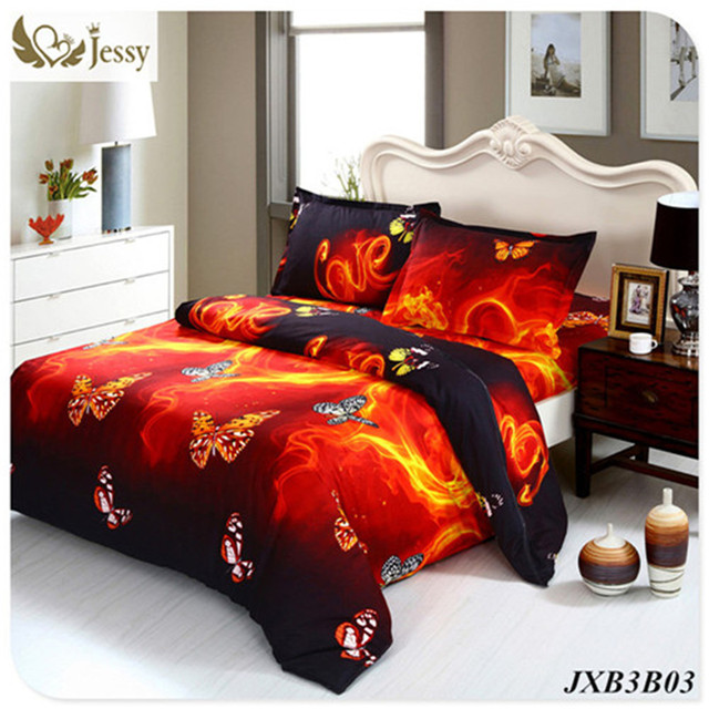 Bedding Luxury Bed Linen Red Rose Nice Bedclothes Print Flower Bedspread Duvet Cover Set Queen King 4pcs