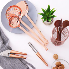 ORZ Rose Gold Kitchen Utensils Gadgets Metal Garlic press Apple core Soup Spoon Colander Turner Tableware Storage Wire Bucket