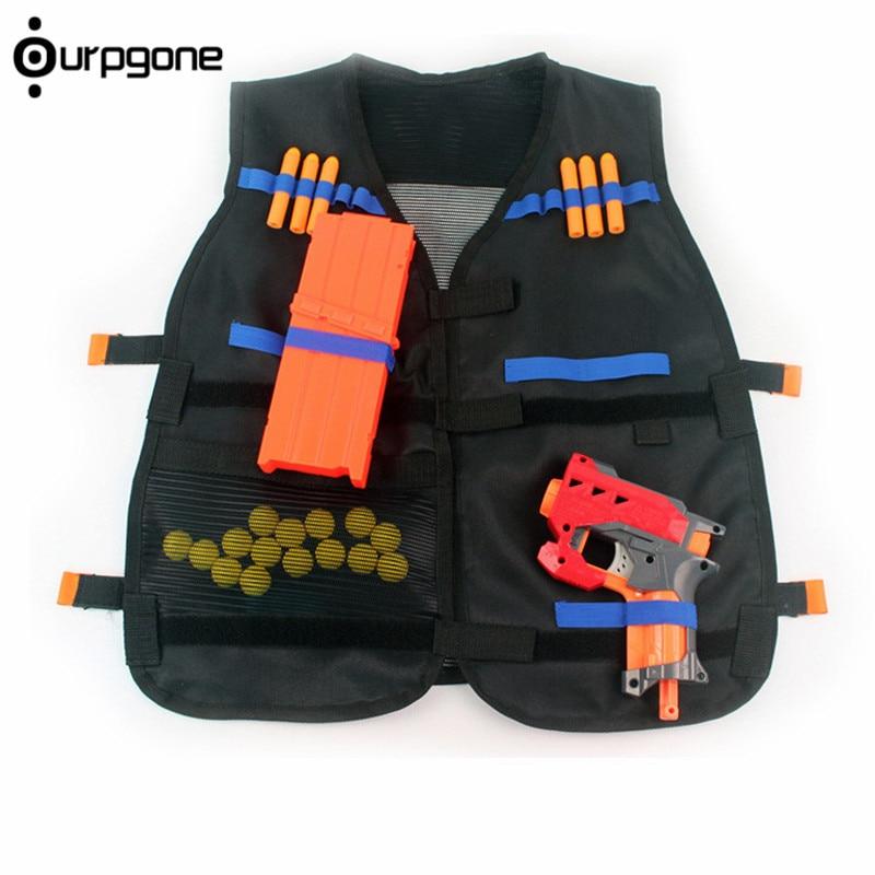 54x47cm Children Kids Black Tactical Vest Jacket Waistcoat Ammo Holder N-Strike Elite Pistol Bullets Toy Clip Darts For Nerf