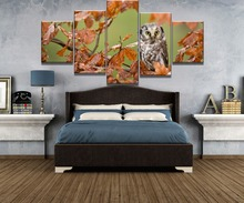Modular 5 Piece HD Print Fall Owl Picture Cuadros Landscape Canvas Wall Art Home Decor For Living Room Painting