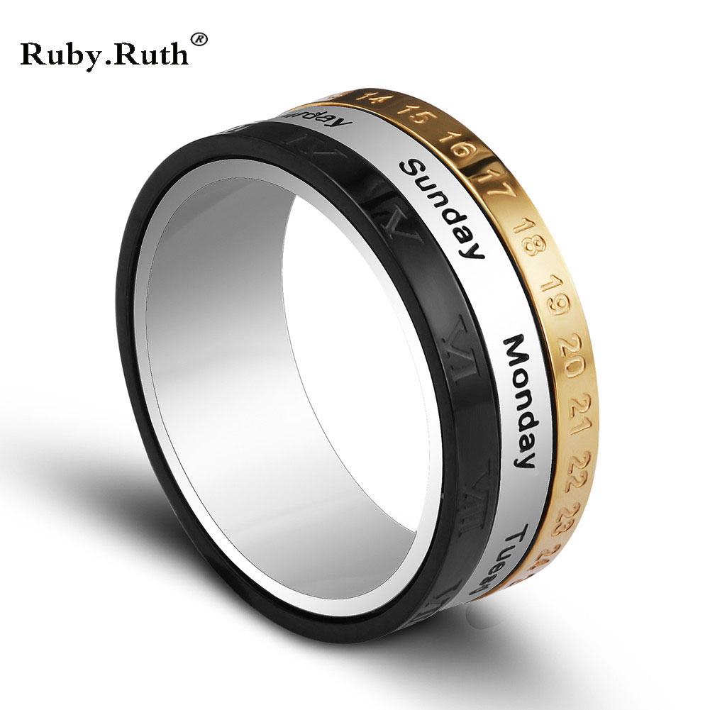 titanium steel tricolor calendar time wedding ring mens fashion jewelry band gift time to turn the wholesale ring in rings from jewelry accessories on - Wedding Rings Men