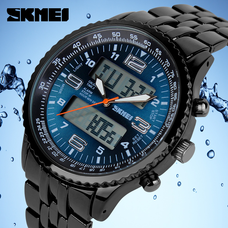 2018 New SKMEI Luxury Brand Men Military Watches Volledig Staal Heren - Herenhorloges - Foto 5