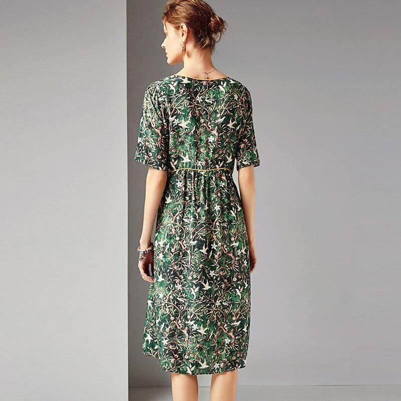 Spectacle Robe Manches See Vêtements Nouvelles De 2019 Des Soie ligne 5 Les Col Posé Chart R10458 Minutes A Imprimé Femmes En Mince 4qqzwP6