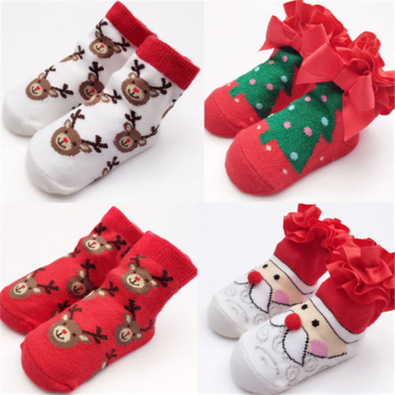 Kids Boy Girl Christmas Baby Socks Hot Sale Newborn Baby Santa Claus Socks 2017 New Arrival Fashion High Quality Xmas Gift Sock цены онлайн