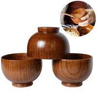 Durable Japanischen Stil Holz Schüssel Suppe/Salat Reis Nudeln Schalen Natürliche Holz Essen Schüssel für Kinder Geschirr