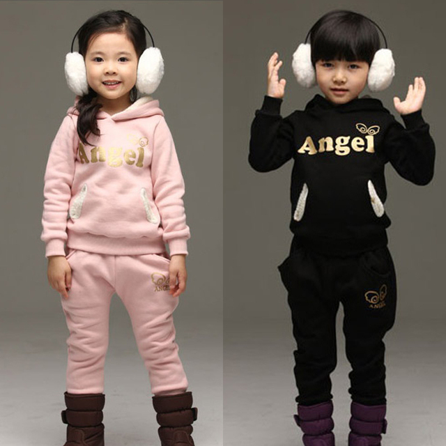 Free shipping children kids clothing 2016 autumn winter baby boy girl sports Set Hooded+Leggings 2 sets girls suits Kids Sets