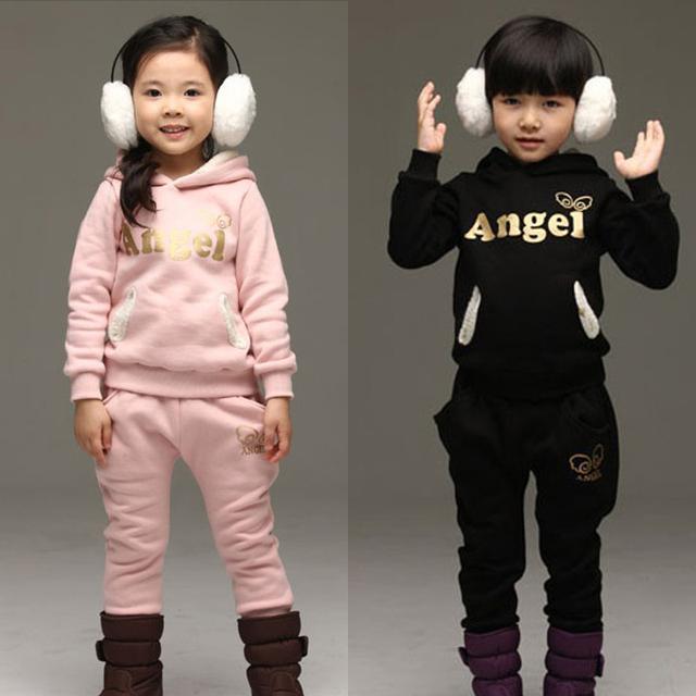 Frete grátis 2016 roupas de outono inverno dos miúdos das crianças do bebê da menina do menino sports Set Com Capuz + Leggings 2 conjuntos meninas ternos crianças Sets