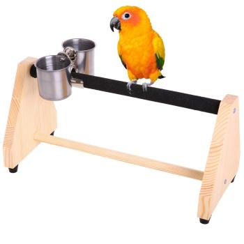 Parrot Play Wood Stand Bird Grinding Perch Table Platform Birdcage Stands Feeder Dish Cup Portable Playstand Small Cockatiels