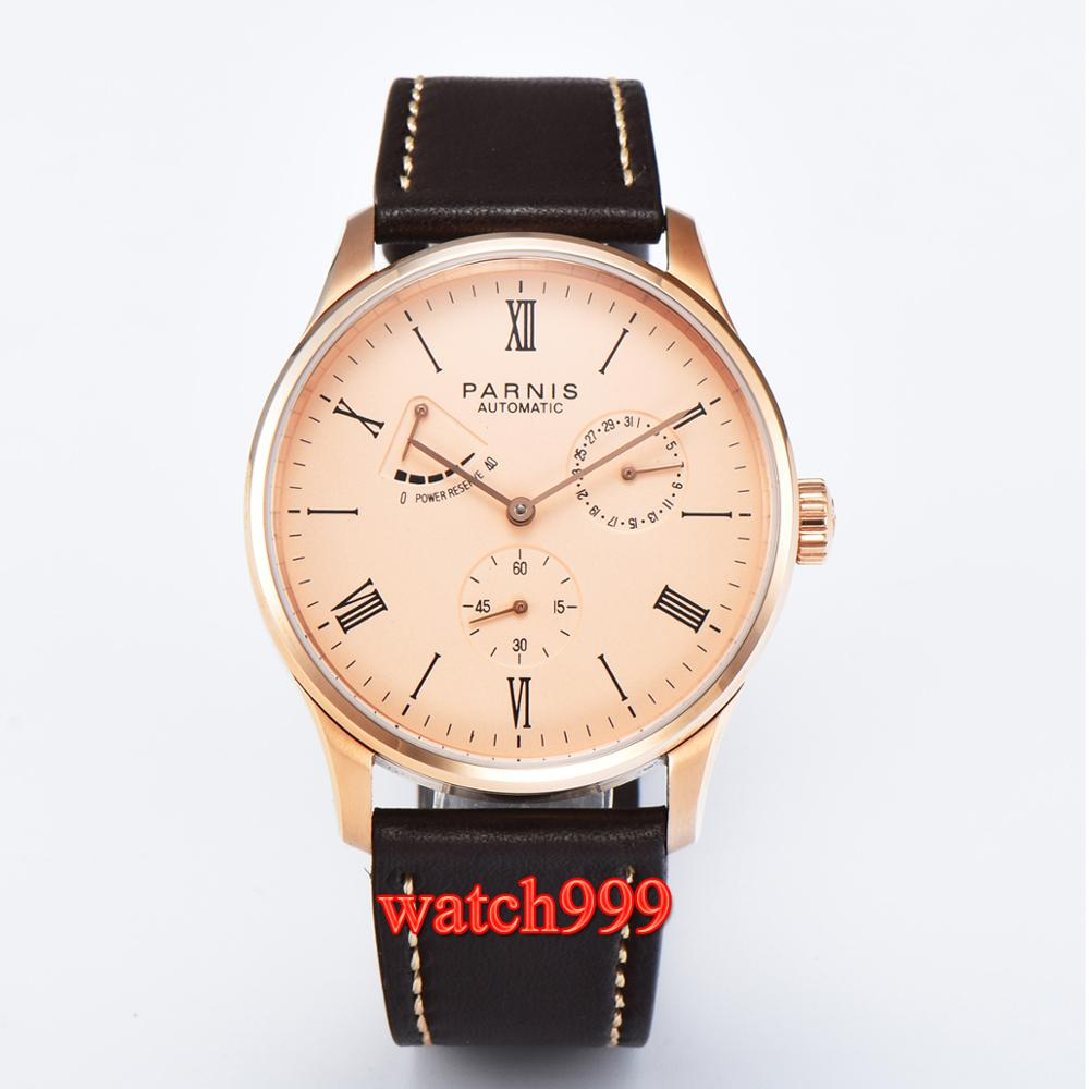 Parnis 42mm power reserve leather strap automatic men's watch stainless steel case waterproof mechanical men watch