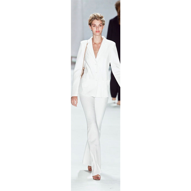 Jacket+Pants Women Business Suit White Female Office Uniform Blazer Ladies Formal Trouser Suit 2 Piece Set Single Breasted W227