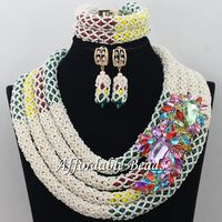 Multicolor African Ladies Jewelry Set Best Selling Beads African Set Charming Design Handmade NCD065