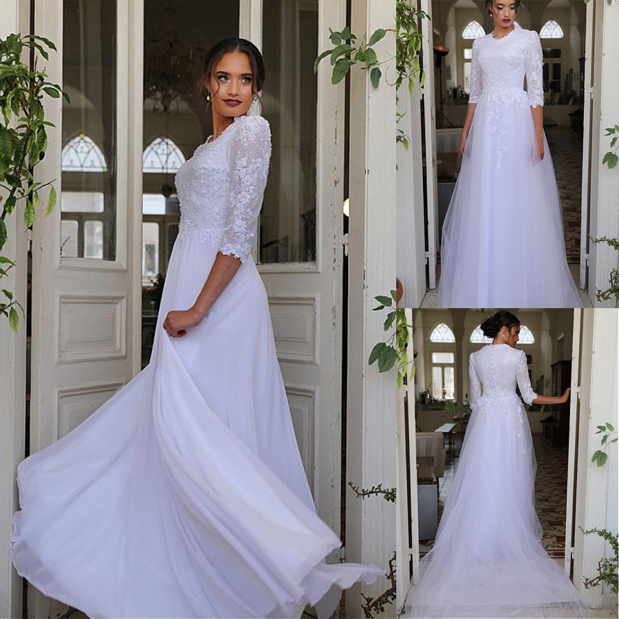 Stunning Tulle Jewel Neckline A-line Wedding Dresses With Beaded Lace Appliques & Detachable Skirt Half Sleeves Bridal Gowns