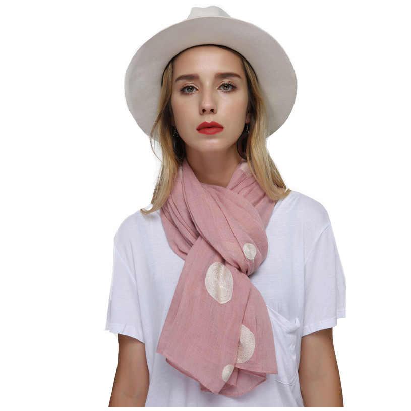 FS дамы Embroidere длинный шарф из хлопка горошек шаль обёрточная бумага Модные женские льняные шарфы для женщин хиджаб бандана Цвет: черный, синий пашмины