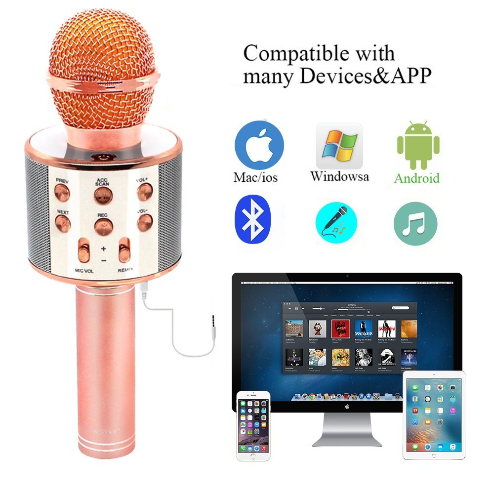 cheapest WS858 Wireless Karaoke Microphone Speaker Portable Bluetooth Home KTV Singing Handheld  amp  Music Player Mic For Ios Andriod Phone