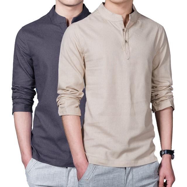 Nova primavera verão casual camisa dos homens de linho de manga longa sólidos v neck collar lazer camisas homens clothing manhã exercício roupas