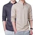 Nueva primavera verano de los hombres ocasionales camisa de lino de manga larga sólido con cuello en v camisas de cuello de ocio hombres clothing ropa de ejercicio por la mañana