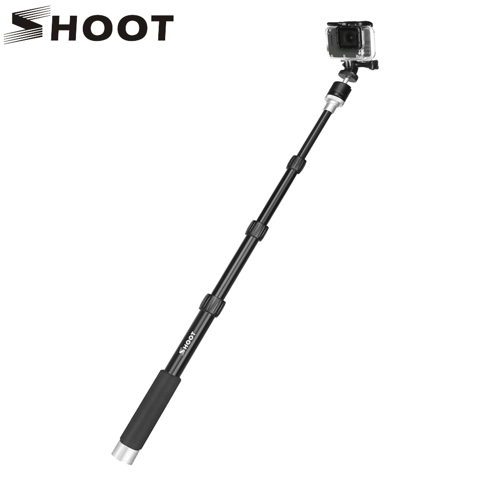 SHOOT Portable Aluminum Alloy Monopod For GoPro Hero 6 5 4 Yi 4K H9 Camera DSLR Selfie Stick For Phone With Ball Head Accessory high precision cnc aluminum alloy lens strap ring for gopro hero 3 red