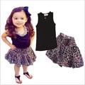 kids clothes 2016 summer girls clothing sets 2-6 year girls sleeveless T-shirt + Leopard grain dress children clothing set