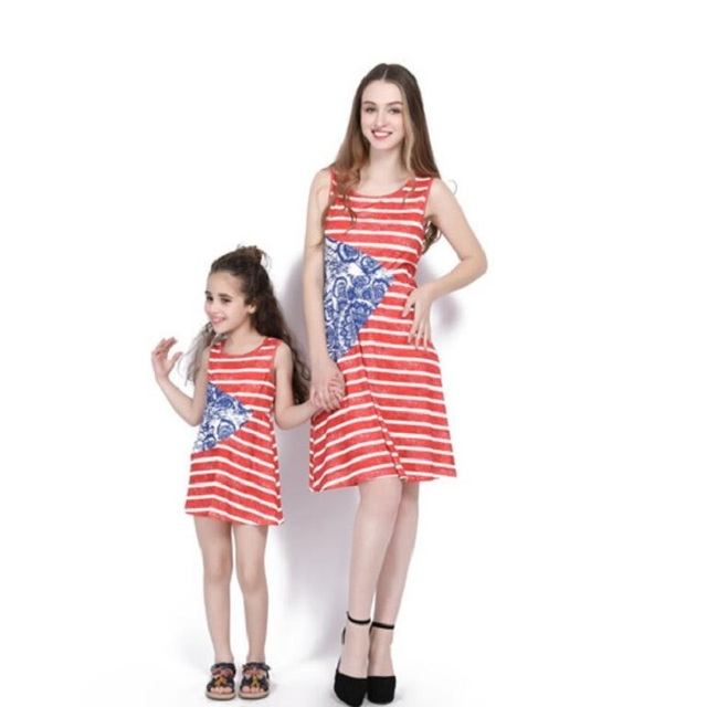 26714301479 2018 mother daughter dresses family matching outfits sleeveless striped  knee-length mommy and me clothes vintage dress Flag Day