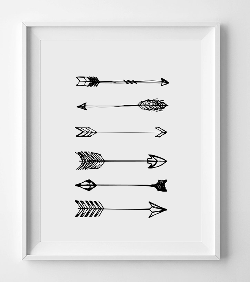 Arrow Art Print Poster For Home Decor Black White Wall Hanging Inspiration Modern Design AP049 In Painting Calligraphy From Garden