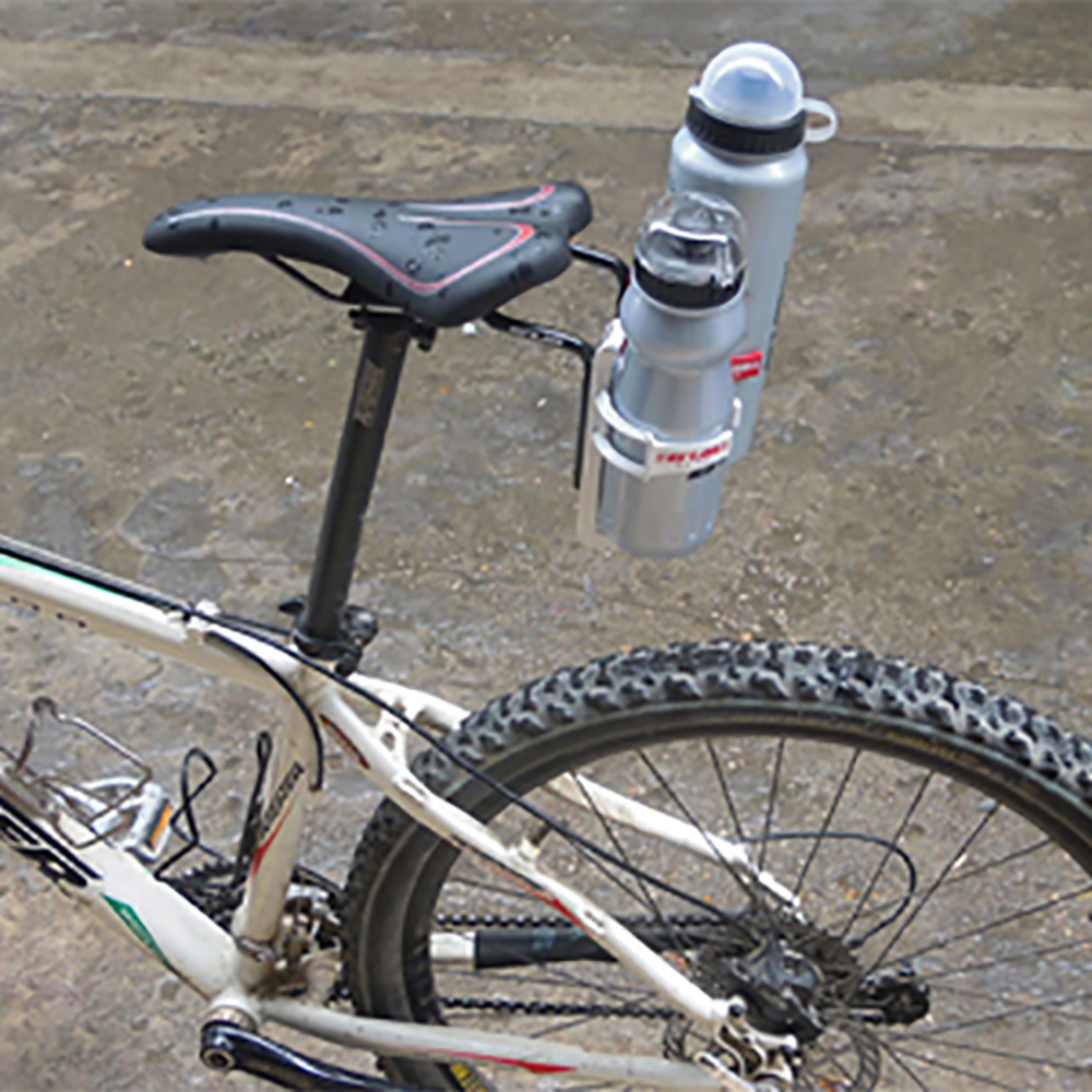 2018 <font><b>Bike</b></font> Bicycle Aluminum Cycling Rear <font><b>Mount</b></font> Saddle-Rail Bracket For 2/double Water <font><b>Bottle</b></font> Cages holder Triathlon Made In image