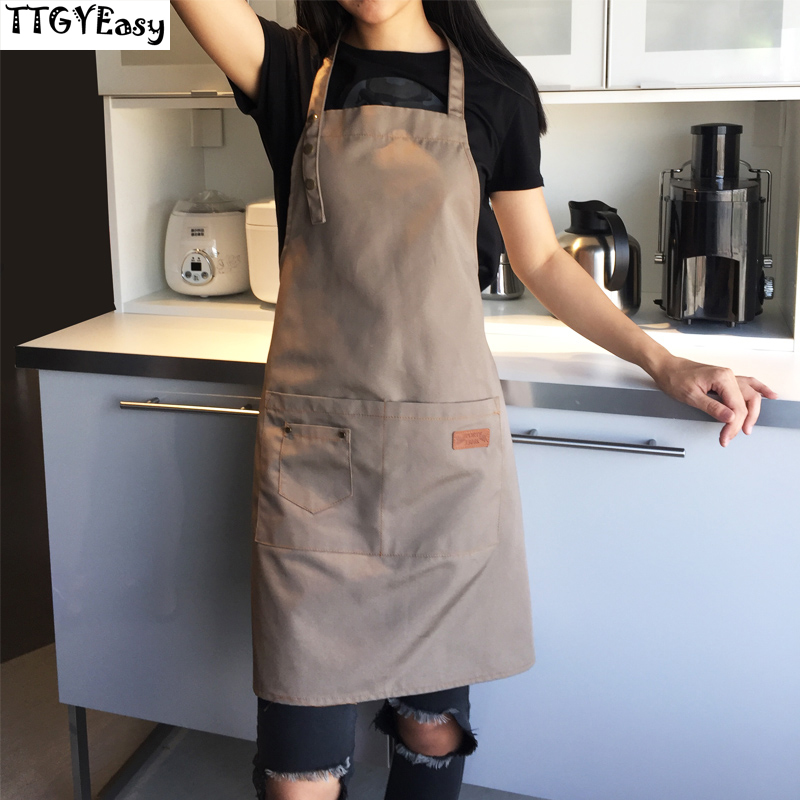 Canvas Apron Outsides BBQ Senior Green Bib Kitchen Cleaning Apron for Women Men Cooking Restaurant Waitress Custom Print Logo