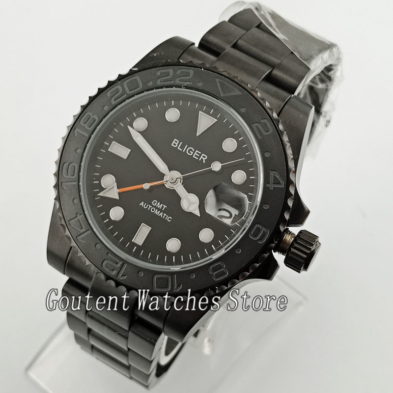 40mm Bliger black dial Black PVD case Ceramic Bezel sapphire crystal GMT automatic men s watch