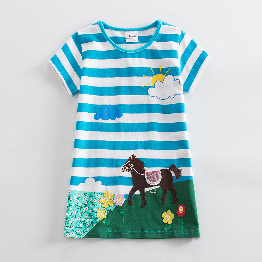Girls short Sleeve Cotton Unicorn Dresses Kids Clothes Embroidered Spring Girl Kids Clothes Kids Dresses for Girls AS6499 1