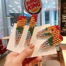 Rainbow Color Crystal Water Drop Hair Clips Geometric Rectangle Long Hairpins For Women Colorful  Hairgrips Accessories