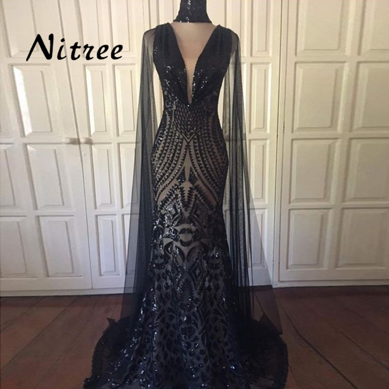2018 Black Sequins Muslim Mermaid Evening Dresses African Dubai Turkish Formal  Prom Gowns For Women Arabic Aibye Abendkleider 066bfd496