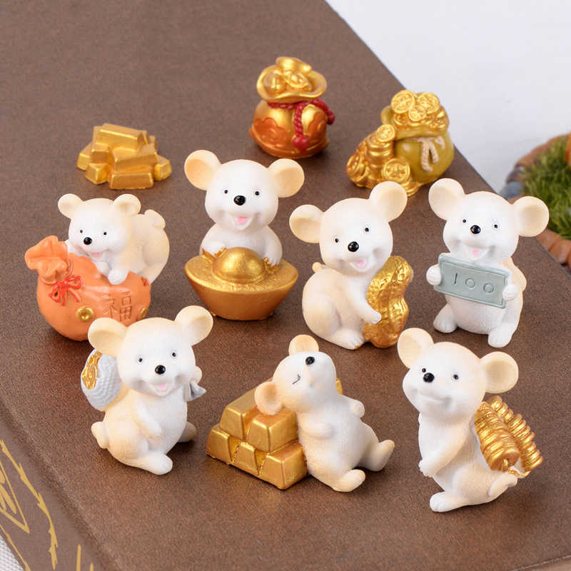 ZOCDOU 1 Piece Lucky Yellow Money Fortune Cartoon Mouse Ornaments Rich Mice Small Statue Little Figurine Crafts Cute Animal Deco