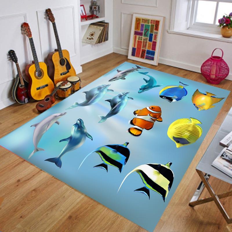 6mm Sea World Printed 3D Carpets Short Plush Cartoon Mat Sofa Rug Pad Living Room Carpets Kids Room Bedroom Carpet Home Decor in Carpet from Home Garden
