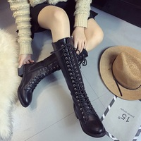 Fashion Knee High Women's Boots 2018 Spring Autumn High Quality leather Women Shoes Cross tied Motorcycle boots Women