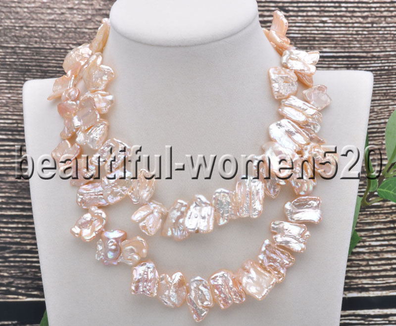 Z7475 20mm Baroque Pink Dens Biwa Freshwater Pearl Necklace 30inch