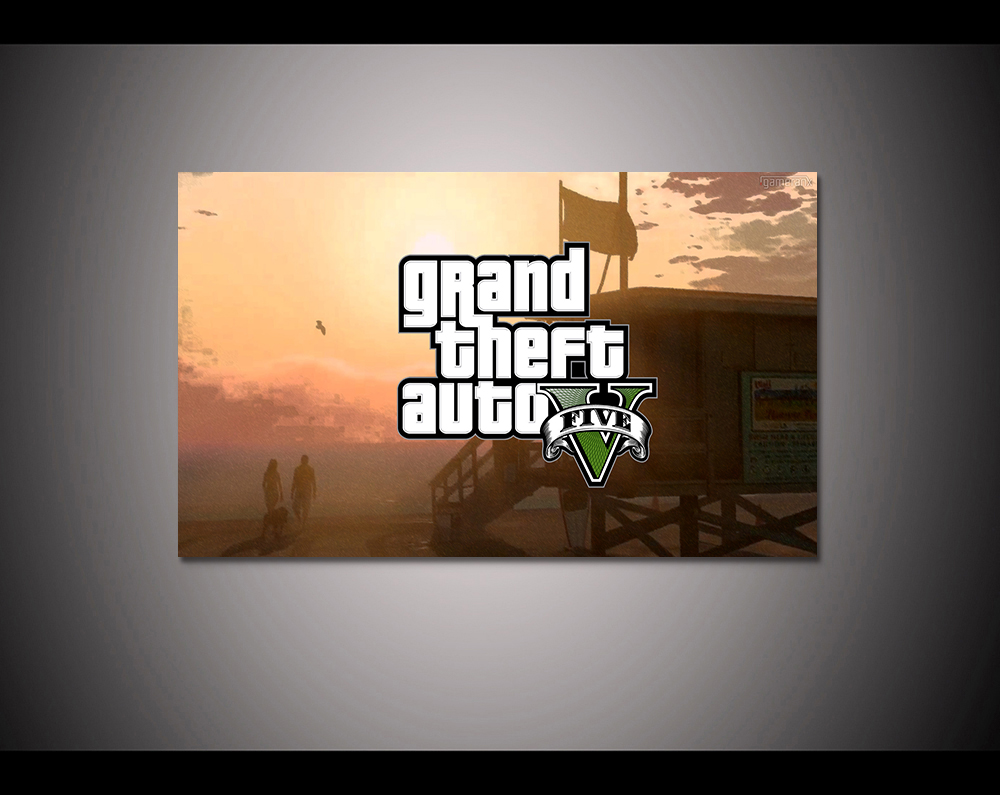 Canvas print painting Grand theft auto gta v 5 Game poster Modern Home Decor Wall art Pictures For Living Room No frame F1599