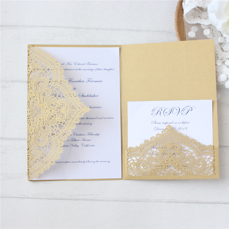 Invitation laser cut wedding marriage cards gold white ivory floral birthday greeting cards personalized printing