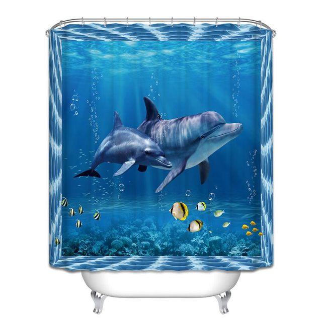 12 Ganci Vari Ocean Shark Tema Tenda Della Doccia Bagno Home Decor Poliestere Im