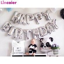 16Inch Gelukkige Verjaardag Zilver Folie Ballonnen Baby Jongen Meisje Eerste Verjaardag 1st Een Partij Decoratie Guirlande Kids Adult Levert