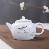 Ding Jingdezhen Ceramic Teapot Hand Painted Ink Color White Fat Kung Fu Tea Tea Teapot Teapot