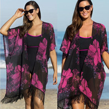 Women Loose Long Blouses Boho Floral Printed Large Size Chiffon Kimono Tassel Cardigan Beach Shirts Sunscreen Clothing