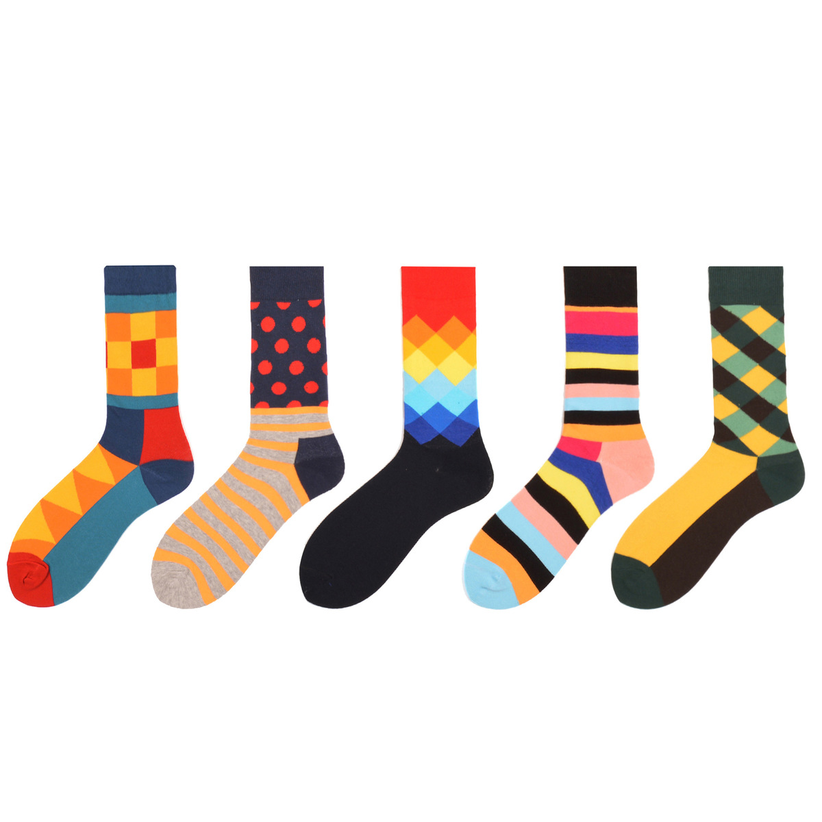 PEONFLY Diamond Lattice Stripe Cotton funny happy Socks men European Originality