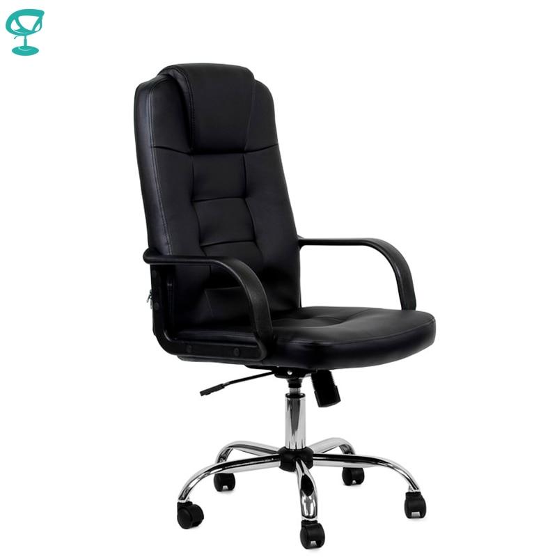 95152 chaise de bureau noire Barneo K-93 en cuir haut dossier en plastique accoudoirs avec rouleau de levage à gaz livraison gratuite en russie