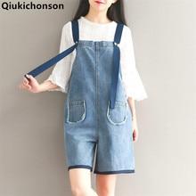 Qiukichonson Jeans Jumpsuit Women 2018 Playsuit Summer Romper Fresh Mori Girl Short Pants Loose Cute Preppy Style Denim Overalls preppy style solid color denim women s overalls