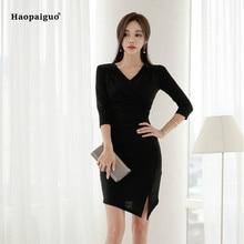 2018 Plus Size Solid Asymmetrical Dress Women Summer Black Three Quarter V-neck Vintage Office Mini Dress Korean Ladies Dresses plus asymmetrical solid dress