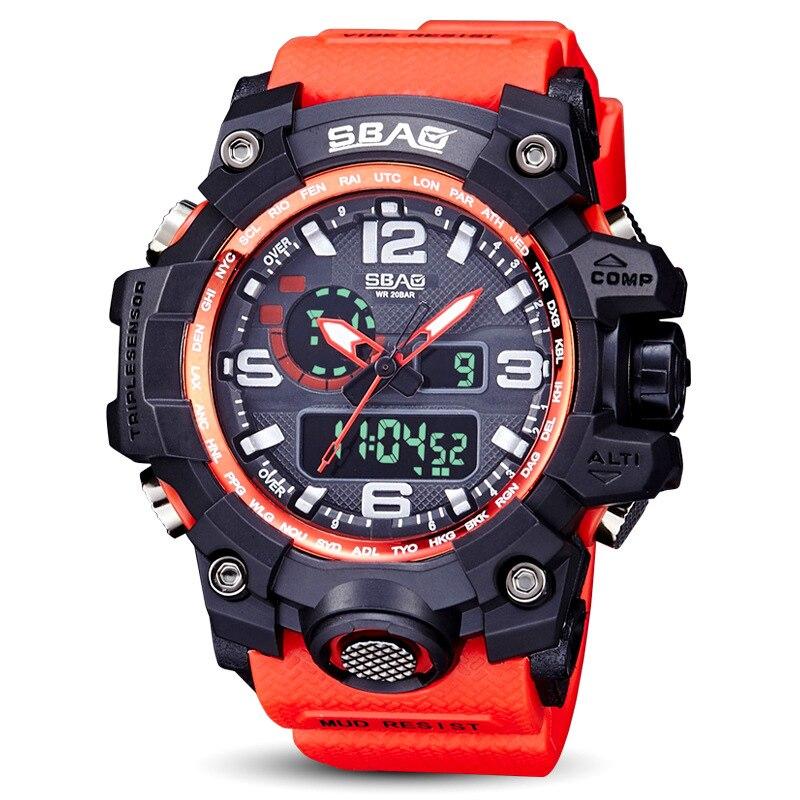Montres de sport pour hommes Top marque de luxe numérique LED Orange choc nager Quartz montres en caoutchouc étanche horloge Relogio Masculino