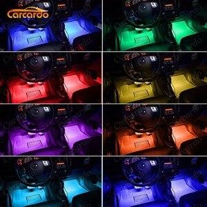 Image 5 - Carcardo Voice Control Car LED Atmosphere Light Lamp 8 Color RGB Glow Car Decoration Strip Light Car LED Auto With Controller
