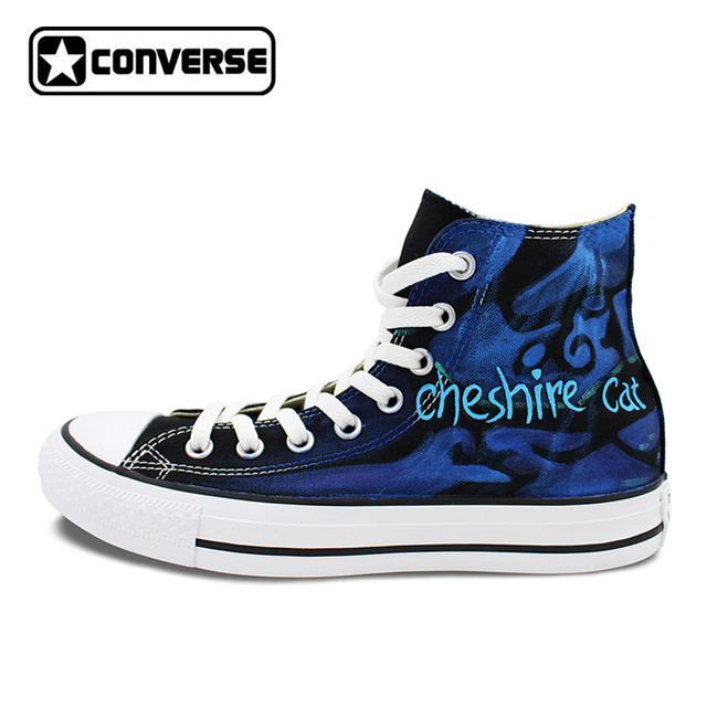 Hand Painted Shoes Men Women Converse All Star We're All Mad Here Cheshire  Cat